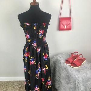 ASOS black floral strapless maxi sun dress size 2